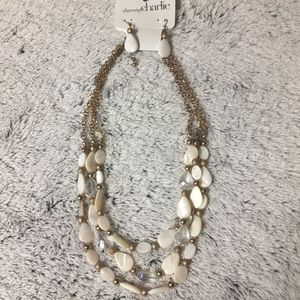 White Beaded Necklace/Earring Set on Gold Chain